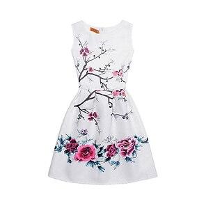 cheap Dresses-Kids Little Girls' Dress Daily Going out Print Ivory white White Blue Sleeveless Streetwear Dresses Summer