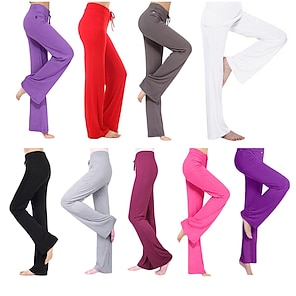 cheap Women's Bottoms-Women's Yoga Pants Drawstring Flare Leg Pants / Trousers Breathable Moisture Wicking Solid Colored White Black Purple Modal Zumba Pilates Dance Plus Size Sports Activewear Stretchy Loose / Burgundy