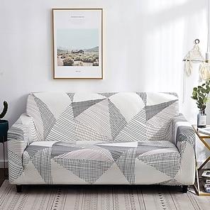 tanie -rozciągliwa narzuta na sofę narzuta elastyczna kanapa segmentowa fotel loveseat 4 lub 4 lub 3 osobowa kształt l szary geometryczny miękki trwały zmywalny