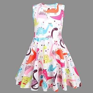 cheap Dresses-Kids Little Girls' Dress Dinosaur Animal Skater Dress Easter Rainbow Dresses