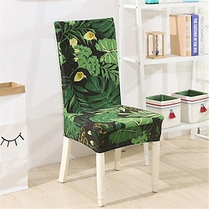 tanie -Rozciągliwy pokrowiec na krzesło kuchenne do jadalni rośliny botaniczne miękkie trwałe zmywalne