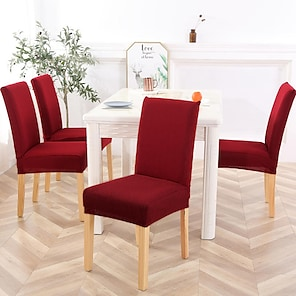 billige -stretch kjøkken stol trekk slipcover jacquard til middagsfest hvit svart rød vanlig solid myk slitesterk vaskbar