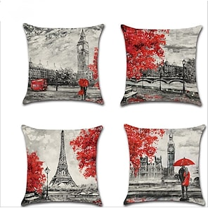 cheap Cushion Covers-4 pcs Linen Pillow Cover, Cartoon Lovers European Square Traditional Classic Home Sofa Decorative Outdoor Cushion for Sofa Couch Bed Chair
