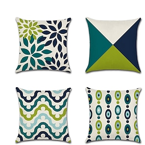 cheap Cushion Covers-Set of 4 Linen Pillow Cover Holiday  Modern Premium Color Block Geometic Throw Pillow