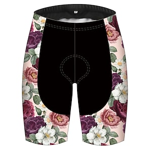 cheap Cycling Pants, Shorts, Tights-21Grams Women's Men's Cycling Shorts Summer Spandex Polyester Bike Pants / Trousers Padded Shorts / Chamois Bottoms 3D Pad Quick Dry Breathable Sports Floral Botanical Hawaii Black / Pink Mountain