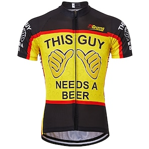cheap Cycling Jerseys-21Grams Men's Short Sleeve Cycling Jersey Summer Black / Red Black / Yellow Red+Blue Retro Novelty Oktoberfest Beer Bike Jersey Anatomic Design Quick Dry Breathable Reflective Strips Back Pocket