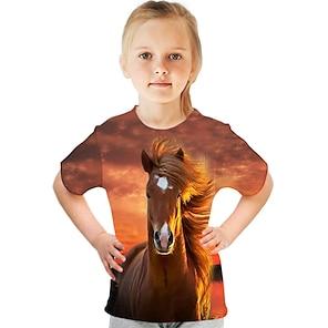 cheap Tops-Kids Girls' T shirt Tee Short Sleeve Butterfly Cat Horse Color Block 3D Animal Print Lake blue Navy White Children Tops Basic Streetwear Cute