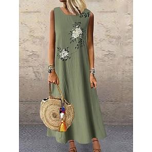 cheap Women's Dresses-Women's Shift Dress Maxi long Dress Green Gray Sleeveless Floral Print Summer Round Neck Hot Casual Holiday Cotton Loose 2021 M L XL XXL 3XL 4XL 5XL / Plus Size / Plus Size