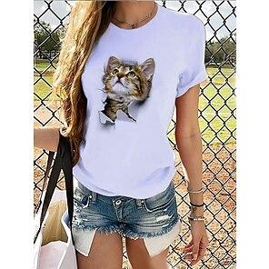 billige Dametopper-Dame T skjorte Grafisk 3D Trykt mønster Rund hals Grunnleggende Topper 100 % bomull Panda Brun