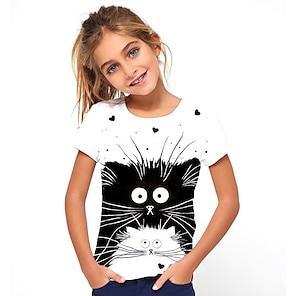 cheap Tops-Kids Girls' T shirt Tee Short Sleeve Cat Animal Print White Children Tops Basic Holiday Cute