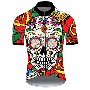 cheap Cycling Jerseys-21Grams Men's Short Sleeve Cycling Jersey Summer Nylon Polyester Red / Yellow Sugar Skull Skull Floral Botanical Bike Jersey Top Mountain Bike MTB Road Bike Cycling Ultraviolet Resistant Quick Dry