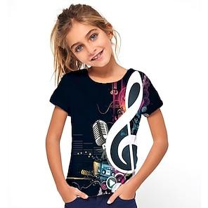 cheap Tops-Kids Girls' T shirt Tee Short Sleeve Geometric Print Black Children Tops Basic Holiday