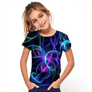 cheap Tops-Kids Girls' T shirt Tee Short Sleeve Jacquard Optical Illusion Color Block Blue Children Tops Summer Basic Holiday Streetwear