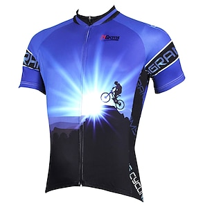 cheap Cycling Jerseys-21Grams Men's Short Sleeve Cycling Jersey Summer Polyester Purple Yellow Red Bike Jersey Top Mountain Bike MTB Road Bike Cycling Ultraviolet Resistant Quick Dry Breathable Sports Clothing Apparel