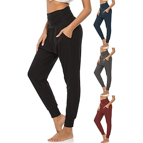 cheap Women's Bottoms-Women's High Waist Yoga Pants Side Pockets Harem Sweatpants 4 Way Stretch Breathable Quick Dry Black Red Dark Blue Spandex Fitness Gym Workout Running Sports Activewear High Elasticity Loose