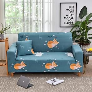 Недорогие -чехол для дивана эластичный чехол с принтом лисы, пылезащитный чехол для мебели, подходящий для кресла / двухместного сиденья / трехместного / четырехместного / секционного дивана (1 бесплатная