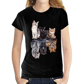 billige Dametopper-Dame T skjorte Sommerfugl Grafiske trykk Rund hals Topper 100 % bomull Svart og Hvit Katt Hvit