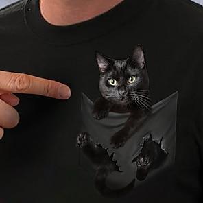 billige Dametopper-Dame 3D Cat T skjorte Katt 3D Grafiske trykk Trykt mønster Rund hals Grunnleggende Topper Hvit Svart