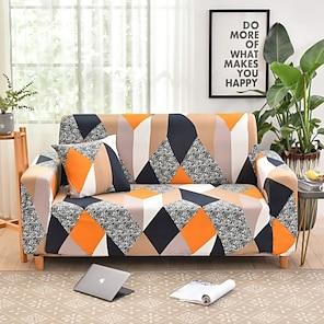 olcso -kanapéhuzat kanapéhuzat bútorvédő geometrikus nyomtatás puha nyújtható papucsfedél szuper nyújtható fotelhez / szerelmesüléshez / háromüléses / négyüléses / l alakú kanapéhoz (1 ingyenes párnahuzat)