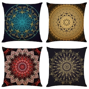 cheap Cushion Covers-Cushion Cover 4PCS Linen Soft Mandala Square Throw Pillow Cover Cushion Case Pillowcase for Sofa Bedroom Superior Quality Machine Washable Outdoor Cushion for Sofa Couch Bed Chair