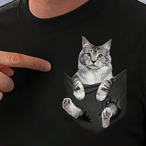 billige Dametopper-Dame T skjorte Katt 3D Grafiske trykk Trykt mønster Rund hals Topper Grunnleggende Grunnleggende topp Hvit Svart