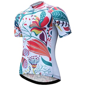 cheap Cycling Jerseys-21Grams Women's Short Sleeve Cycling Jersey Summer Polyester White Bike Jersey Mountain Bike MTB Road Bike Cycling Breathable Reflective Strips Back Pocket Sports Clothing Apparel / Athletic