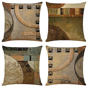 cheap Cushion Covers-cushion cover 4pcs linen soft decorative square throw pillow cover cushion case pillowcase for sofa bedroom one side  superior quality machine washable Outdoor Cushion for Sofa Couch Bed Chair