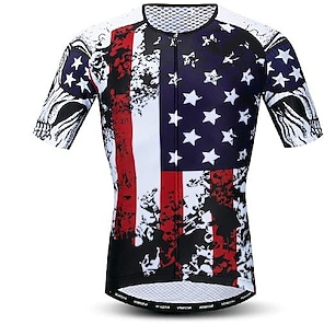 cheap Cycling Jerseys-21Grams Men's Short Sleeve Cycling Jersey Summer Polyester Dark Navy USA Bike Jersey Mountain Bike MTB Road Bike Cycling Quick Dry Breathable Back Pocket Sports Clothing Apparel / Athletic