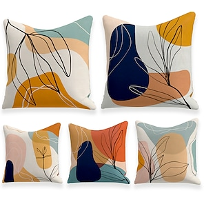 cheap Cushion Covers-Cushion Cover 5PCS Linen Soft Decorative Square Throw Pillow Cover Cushion Case Pillowcasefor Sofa Bedroom  Superior Quality Mashine Washable Outdoor Cushion for Sofa Couch Bed Chair