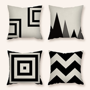 cheap Cushion Covers-4 pcs Pillow Cover Linen Print Zipper Square Polyester Traditional Classic