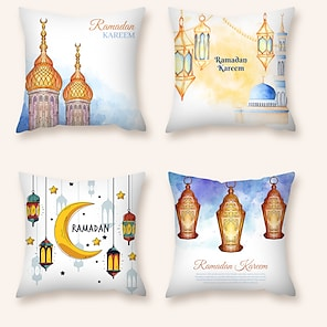 cheap Cushion Covers-Cushion Cover 4PCS Ramadan Short Plush Soft Decorative Square Throw Pillow Cover Cushion Case Pillowcase for Sofa Bedroom  Superior Quality Machine Washable