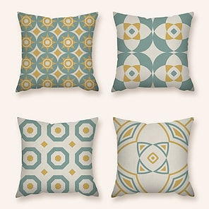 cheap Cushion Covers-Cushion Cover 4PC Linen Soft Decorative Square Throw Pillow Cover Cushion Case Pillowcase for Sofa Bedroom 45 x 45 cm (18 x 18 Inch) Superior Quality Machine Washable