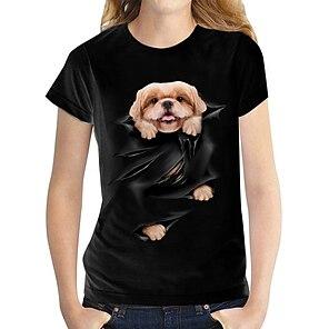 billige Dametopper-Dame 3D T skjorte Hund Grafisk 3D Trykt mønster Rund hals Grunnleggende Topper 100 % bomull Hvit Svart