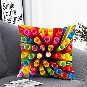 cheap Cushion Covers-1 pcs Polyester Pillow Cover & Insert, Color Block Simple Classic Square Zipper Polyester Traditional Classic