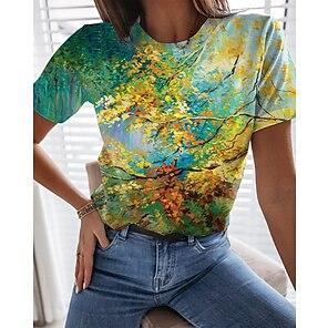 billige Dametopper-Dame Maling T skjorte Grafisk Blad 3D Trykt mønster Rund hals Grunnleggende Topper Grønn