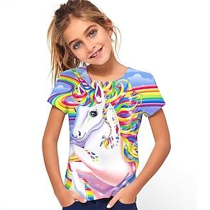 cheap Tops-Kids Girls' T shirt Tee Short Sleeve Horse Unicorn Rainbow 3D Print Graphic Animal Print Rainbow Children Tops Summer Active Cute Causal 2-13 Years