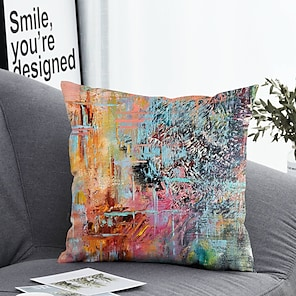 cheap Cushion Covers-1 pcs Polyester Pillow Cover & Insert Simple Classic Square Zipper Polyester Traditional Classic