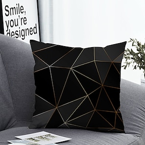 cheap Cushion Covers-1 pcs Polyester Pillow Cover & Insert, Geometric Simple Classic Square Zipper Polyester Traditional Classic