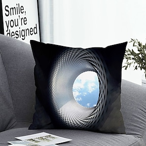 cheap Cushion Covers-1 pcs Polyester Pillow Cover Pillow Cover & Insert Simple Classic Square Zipper Polyester Traditional Classic