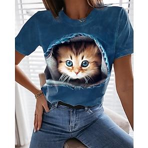 billige Dametopper-Dame 3D Cat T skjorte Katt Grafisk 3D Trykt mønster Rund hals Grunnleggende Topper Blå