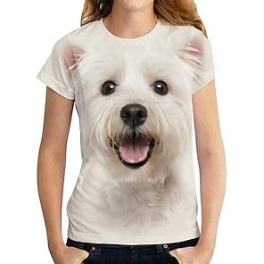 billige Dametopper-Dame Ferie 3D T skjorte Hund Grafisk 3D Trykt mønster Rund hals Grunnleggende Topper Hvit