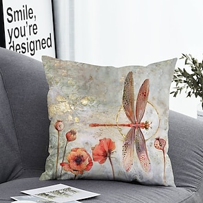 cheap Cushion Covers-1 pcs Polyester Pillow Cover Pillow Cover & Insert, Floral&Plants Simple Classic Square Zipper Polyester Traditional Classic Outdoor Cushion for Sofa Couch Bed Chair