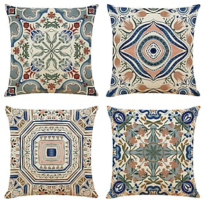 cheap Cushion Covers-Cushion Cover 4PCS Linen Soft Geometric Simple Classic Square Throw Pillow Cover Cushion Case Pillowcase for Sofa Bedroom Superior Quality Machine Washable Outdoor Cushion for Sofa Couch Bed Chair