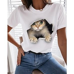 billige Dametopper-Dame 3D Cat T skjorte Katt Grafisk 3D Trykt mønster Rund hals Grunnleggende Topper 100 % bomull Hvit Svart