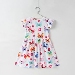 cheap Dresses-Kids Little Girls' Dress Butterfly Animal White Knee-length Short Sleeve Sweet Dresses Regular Fit 2-8 Years