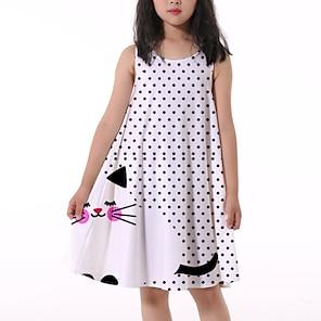 cheap Dresses-Kids Little Girls' Dress Cat Polka Dot Animal Print White Knee-length Sleeveless Flower Active Dresses Summer Regular Fit 5-12 Years