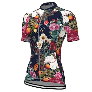cheap Cycling Jerseys-21Grams Women's Short Sleeve Cycling Jersey Summer Spandex Polyester Black Floral Botanical Bike Jersey Top Mountain Bike MTB Road Bike Cycling Quick Dry Moisture Wicking Breathable Sports Clothing