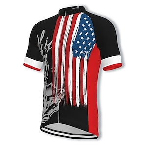 cheap Cycling Jerseys-21Grams Men's Short Sleeve Cycling Jersey Summer Spandex Polyester Black USA National Flag Bike Jersey Top Mountain Bike MTB Road Bike Cycling Quick Dry Moisture Wicking Breathable Sports Clothing