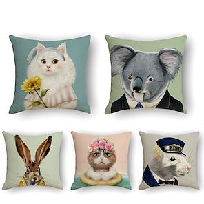 cheap Cushion Covers-5 pcs Linen Pillow Cover, Animal Simple Casual Square Polyester Traditional Classic