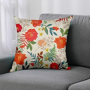 cheap Cushion Covers-Double Side 1 Pc Floral Cushion Cover  Print 45x45cm Linen for Sofa Bedroom